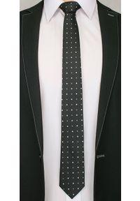 Alties - Czarny Elegancki Krawat Męski -ALTIES- 6 cm, w Biało-Szare Groszki. Kolor: wielokolorowy, biały, czarny, szary. Materiał: tkanina. Wzór: grochy. Styl: elegancki