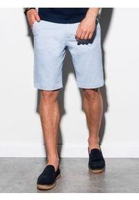 Ombre Clothing - Krótkie spodenki męskie casual W243 - błękitne - XXL. Okazja: na co dzień. Kolor: niebieski. Materiał: elastan, bawełna. Długość: krótkie. Sezon: lato. Styl: casual