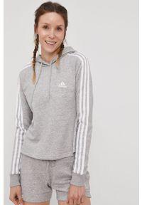Szara bluza Adidas melanż, z kapturem