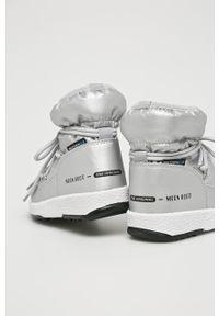 Srebrne buty zimowe Moon Boot na zimę, na sznurówki, z cholewką