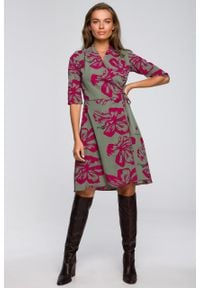 e-margeritka - Sukienka kopertowa wizytowa do kolan - m. Materiał: materiał, tkanina, poliester, elastan. Typ sukienki: kopertowe. Styl: wizytowy. Długość: midi