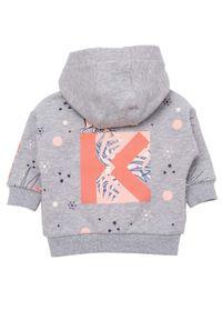 Kenzo kids - KENZO KIDS - Szara rozpinana bluza z kapturem 0-3 lat. Typ kołnierza: kaptur. Kolor: szary. Materiał: bawełna, dzianina. Wzór: melanż, haft, aplikacja, nadruk. Sezon: lato