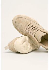 Beżowe sneakersy medicine z okrągłym noskiem, z cholewką, na sznurówki