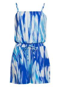 Niebieski kombinezon bonprix z nadrukiem, krótki