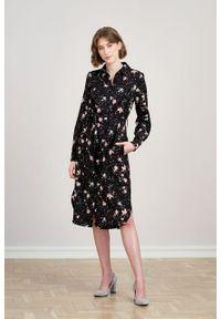 Marie Zélie - Sukienka Eliza Pioggerella. Materiał: bawełna, wiskoza. Długość rękawa: długi rękaw. Typ sukienki: szmizjerki. Styl: klasyczny
