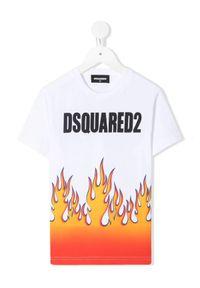 DSQUARED2 KIDS - Bawełniana koszulka z nadrukiem 4-12 lat. Kolor: biały. Materiał: bawełna. Wzór: nadruk. Sezon: lato. Styl: klasyczny
