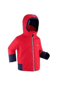 WEDZE - Kurtka narciarska 500 PULL'N FIT dla dzieci. Kolor: wielokolorowy, czerwony, niebieski. Materiał: materiał. Sezon: zima. Sport: narciarstwo