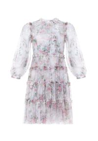 NEEDLE & THREAD - Sukienka w kwiatowy wzór Swan. Kolor: biały. Materiał: tiul, materiał. Długość rękawa: długi rękaw. Wzór: kwiaty. Długość: mini