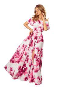 Różowa długa sukienka Numoco w kwiaty