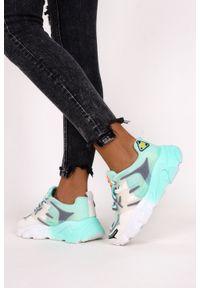 Casu - Miętowe sneakersy na platformie buty sportowe sznurowane casu 21f2/m. Kolor: zielony, biały, wielokolorowy. Obcas: na platformie