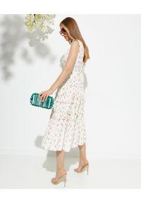 NEEDLE & THREAD - Sukienka midi w kwiaty Theresa. Typ kołnierza: dekolt gorset. Kolor: beżowy. Materiał: bawełna. Długość rękawa: na ramiączkach. Wzór: kwiaty. Typ sukienki: rozkloszowane, gorsetowe. Długość: midi