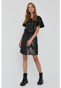 TwinSet - Twinset - Sukienka. Okazja: na co dzień. Kolor: czarny. Długość rękawa: krótki rękaw. Typ sukienki: proste. Styl: casual
