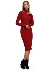 Czerwona sukienka dzianinowa MOE ołówkowa