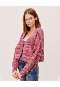 For Love & Lemons - FOR LOVE & LEMONS - Różowy kardigan Maude. Kolor: różowy, fioletowy, wielokolorowy. Materiał: jeans. Sezon: zima. Styl: klasyczny