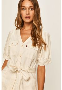 Biała sukienka Levi's® z krótkim rękawem, na spotkanie biznesowe, mini, casualowa