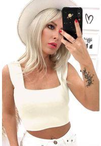 Biały top IVET krótki, elegancki, na ramiączkach
