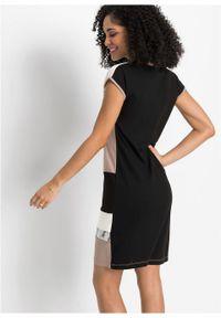 Czarna sukienka bonprix asymetryczna, elegancka, z krótkim rękawem