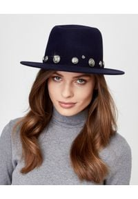 MAISON MICHEL PARIS - Granatowy kapelusz Thadee. Kolor: niebieski. Materiał: materiał. Wzór: aplikacja. Sezon: jesień