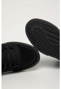 Czarne sneakersy DC z okrągłym noskiem, na sznurówki, z cholewką