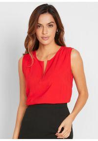 Bluzka bez rękawów bonprix truskawkowy. Kolor: czerwony. Długość rękawa: bez rękawów. Styl: elegancki