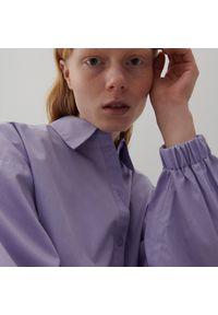 Reserved - Bawełniana koszula z bufiastymi rękawami - Fioletowy. Kolor: fioletowy. Materiał: bawełna