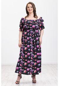 Czarna sukienka Moda Size Plus Iwanek na wiosnę, z dekoltem typu hiszpanka