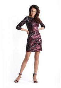 IVON - Bordowa Mini Sukienka Bodycon w Stylu Glamour. Kolor: czerwony. Materiał: poliester. Typ sukienki: bodycon. Styl: glamour. Długość: mini
