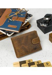 BUFFALO WILD - Skórzany portfel męski j. brązowy Buffalo Wild RM-02L-HBW TAN. Kolor: brązowy. Materiał: skóra