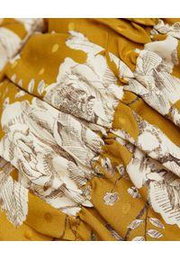 MARIANNA SENCHINA - Sukienka w kwiaty. Okazja: na imprezę. Kolor: żółty. Materiał: jedwab. Długość rękawa: długi rękaw. Wzór: kwiaty. Styl: elegancki, klasyczny. Długość: mini