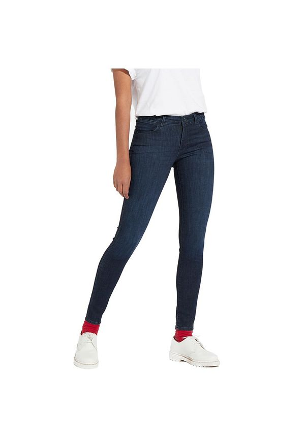 Niebieskie jeansy Wrangler eleganckie, w kolorowe wzory