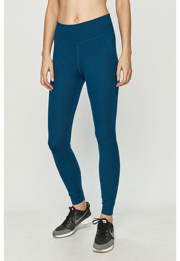 Nike - Legginsy. Kolor: niebieski. Materiał: tkanina, dzianina, poliester, elastan, włókno, skóra. Wzór: gładki