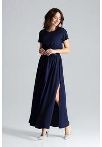 Lenitif - Długa rozkloszowana sukienka maxi z rozcięciami granatowa. Okazja: do pracy, na co dzień. Kolor: niebieski. Materiał: guma. Styl: wizytowy, casual. Długość: maxi