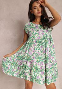 Renee - Zielona Sukienka Agenneg. Kolor: zielony. Materiał: tkanina, wiskoza. Długość rękawa: krótki rękaw. Wzór: kwiaty, kolorowy. Długość: mini