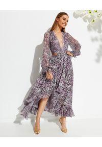 ROCOCO SAND - Wzorzysta sukienka maxi z wycięciami. Kolor: biały. Materiał: materiał. Wzór: aplikacja, nadruk. Typ sukienki: asymetryczne. Długość: maxi
