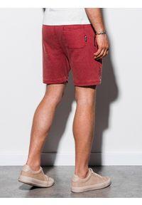 Ombre Clothing - Krótkie spodenki męskie dresowe W223 - czerwone - XXL. Kolor: czerwony. Materiał: dresówka. Długość: krótkie. Wzór: aplikacja. Styl: klasyczny