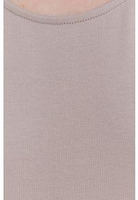 Answear Lab - answear.LAB X Paulina Krupińska Sukienka z certyfikatem OEKO-TEX kolekcja limitowana Ethical Wardrobe. Okazja: na co dzień. Kolor: beżowy. Materiał: syntetyk, dzianina, materiał, dresówka, włókno. Długość rękawa: na ramiączkach. Wzór: gładki. Typ sukienki: proste. Styl: wakacyjny