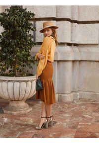 Brązowa spódnica TOP SECRET długa, casualowa, na wiosnę