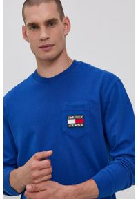Tommy Jeans - Longsleeve. Okazja: na co dzień. Kolor: niebieski. Materiał: bawełna, dzianina. Długość rękawa: długi rękaw. Wzór: aplikacja. Styl: casual