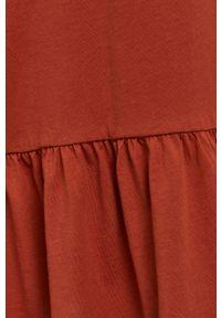 only - Only - Sukienka. Kolor: brązowy. Materiał: bawełna, dzianina. Długość rękawa: krótki rękaw. Wzór: gładki. Typ sukienki: rozkloszowane