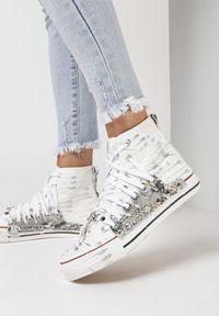 Born2be - Biało-Srebrne Trampki Hyroris. Wysokość cholewki: przed kolano. Nosek buta: okrągły. Kolor: biały. Materiał: materiał, guma. Szerokość cholewki: normalna. Wzór: aplikacja, nadruk