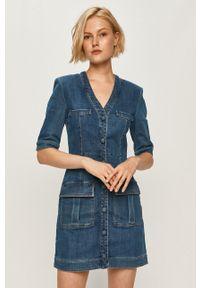 Niebieska sukienka Miss Sixty z krótkim rękawem, mini, casualowa