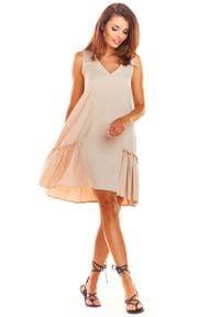 Awama - Beżowa Luźna Sukienka bez Rękawów z Falbanką. Kolor: beżowy. Materiał: elastan, wiskoza. Długość rękawa: bez rękawów