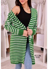 Zielony sweter IVET w paski, na jesień