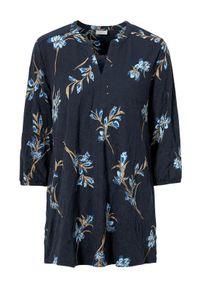 Niebieska tunika Freequent ze stójką, w kwiaty, elegancka