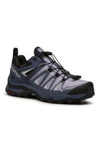 Fioletowe buty trekkingowe salomon trekkingowe, z cholewką, Gore-Tex