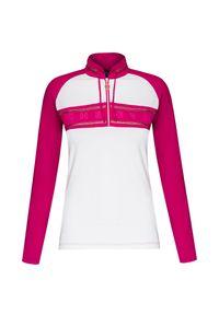 Różowy sweter Chervo z golfem, raglanowy rękaw, krótki