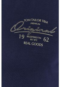 Niebieski t-shirt Tom Tailor casualowy, na co dzień, z nadrukiem