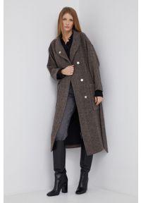Sisley - Płaszcz wełniany. Okazja: na co dzień. Kolor: brązowy. Materiał: wełna. Styl: casual