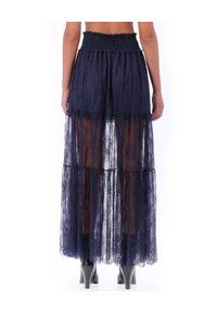 Ermanno Firenze - ERMANNO FIRENZE - Granatowa maxi spódnica z koronki. Kolor: niebieski. Materiał: koronka. Wzór: koronka