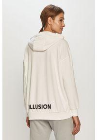 Biała bluza only długa, z długim rękawem, gładkie, z kapturem
